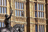 King Richard I at the Houses of Parliament in London