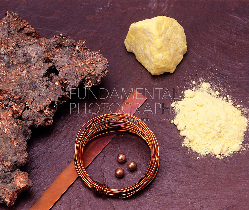PHYSICAL PROPERTIES COMPARED: COPPER &amp; SULFUR<br /> Transition Metal Copper &amp; Non-Metal Sulfur<br /> Elemental copper ore (left) is malleable (thin sheet &amp; pellets) &amp; ductile (wire). A sulfur lump easily becomes powder when crushed.