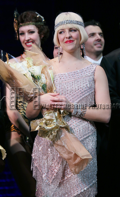 """Helene Yorke during the Broadway Opening Night Performance Curtain Call for ''Bullets Over Broadway'""""at the St. James Theatre on April 10, 2014 in New York City."""