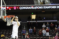 March 14, 2010.  Michelle Harrison cuts down the net after the Stanford Cardinal beat the UCLA Bruins to win the 2010 Pac-10 Tournament.