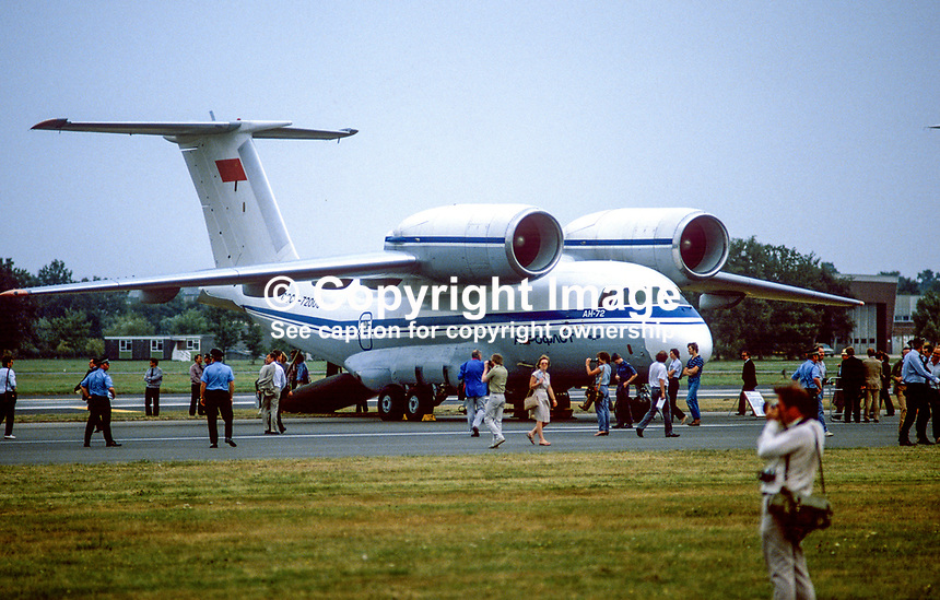 Antonov AN-72 Russian-built freighter aircraft at Farnborough Air Show, UK, 19840115AN72.<br />