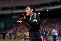 Fabian Espindola (9) of D.C. United reacts to a referee's call during a MLS game at RFK Stadium in Washington, DC.  D.C. United lost to the Columbus Crew, 3-0.
