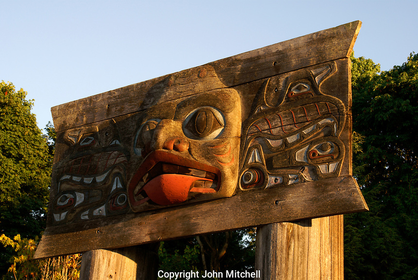 Haida mortuary board carving, Museum of Anthropology (MOA), Vancouver, British Columbia, Canada.