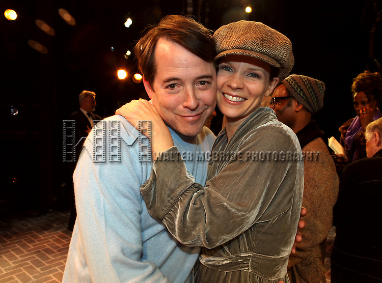 Matthew Broderick & Kelli O'Hara.attending the Broadway Opening Night Performance Gypsy Robe Ceremony for 'Nice Work If You Can Get it' at the Imperial Theatre on 4/24/2012 at the Imperial Theatre in New York City. © Walter McBride/WM Photography / Retna Ltd.
