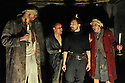 "© Jane Hobson. London, UK. 18/04/2011. Belt Up Theatre's all male production of ""MacBeth"" opens at The House of Detention, Clerkenwell, London. L to R: Marcus Emerton as 'Witch', Joe Hufton as 'Witch', Dominic Allen as 'MacBeth' and James Wilkes as 'Witch'. Photo credit should read: JANE HOBSON"