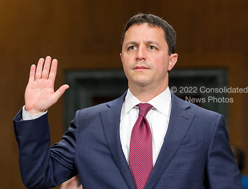 Steven A. Engel is sworn-in to testify before the United States Senate Committee on the Judiciary on his nomination to be an Assistant Attorney General, Office of Legal Counsel, US Department of Justice, on Capitol Hill in Washington, DC on Wednesday, May 10, 2017.<br /> Credit: Ron Sachs / CNP