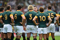 Jean De Villiers of South Africa speaks to his players during a break in play. Rugby World Cup Pool B match between South Africa and Japan on September 19, 2015 at the Brighton Community Stadium in Brighton, England. Photo by: Patrick Khachfe / Onside Images