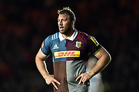 Chris Robshaw of Harlequins looks on during a break in play. Aviva Premiership match, between Harlequins and Exeter Chiefs on April 14, 2017 at the Twickenham Stoop in London, England. Photo by: Patrick Khachfe / JMP