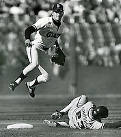 Giants Robbie Thompson completes Double Play..(photo by Ron Riesterer)