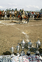 """A Buzkashi between North East Afghans in the National stadium of Kabul..""""bOzkashI"""" is one of the ancient games played in Afghanistan. The name of this game is perhaps derived from hunting mountain goats by ancient champions n horseback."""