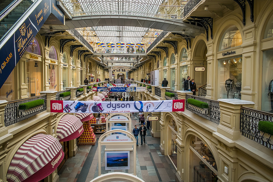 MOSCOW - CIRCA MARCH 2013: Interior view of the GUM Shopping Mall in the Red Square in Moscow, circa 2013. With a population of more than 11 million people is one the largest cities in the world and a popular tourist destination.