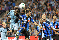 Kei Kamara (23) Sporting KC flicks on a corner.<br />
