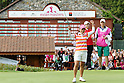Ai Miyazato (JPN),JULY 24, 2011 - Golf :Ai Miyazato (L) of Japan celebrates her victory as Ran Hong (C) of South Korea looks on during the final round of the Evian Masters at the Evian Masters Golf Club in Evian-les-Bains, France. (Photo by Yasuhiro JJ Tanabe/AFLO)