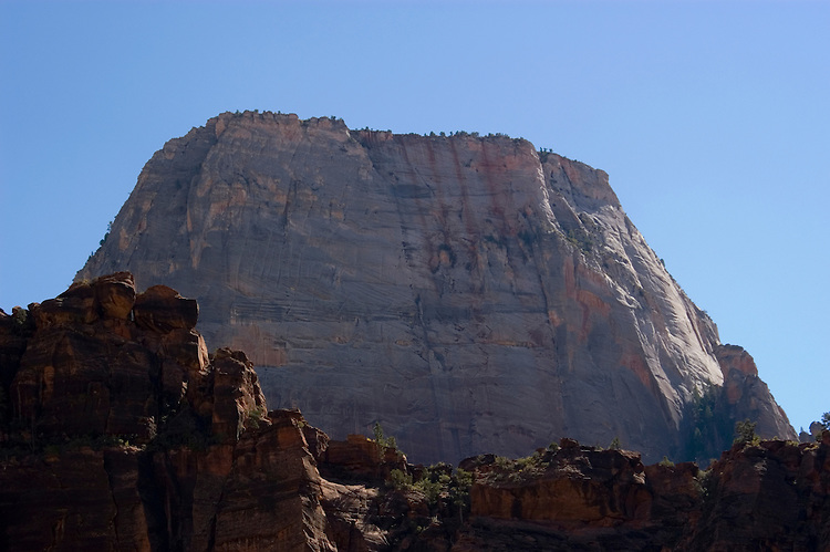 Zion National Park, Utah, UT, Great White Throne rock formation, landform, Southwest America, American Southwest, US, United States, Image ut372-17687, Photo copyright: Lee Foster, www.fostertravel.com, lee@fostertravel.com, 510-549-2202