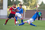 St Johnstone v FC Minsk...01.08.13 Europa League Qualifier at Neman Stadium, Grodno, Belarus...<br /> Tom Scobbie and Paddy Cregg block out Raman Vasiliuk<br /> Picture by Graeme Hart.<br /> Copyright Perthshire Picture Agency<br /> Tel: 01738 623350  Mobile: 07990 594431