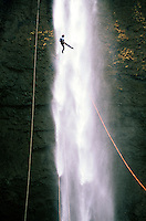 Rappel at  Salt&atilde;o waterfall in Brotas, S&atilde;o Paulo state, Brazil
