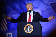 National Harbor, MD - February 24, 2017: U.S. President Donald Trump addresses attendees of the Conservative Political Action Conference at the Gaylord Hotel in National Harbor, MD, February 24, 2017.  (Photo by Don Baxter/Media Images International)