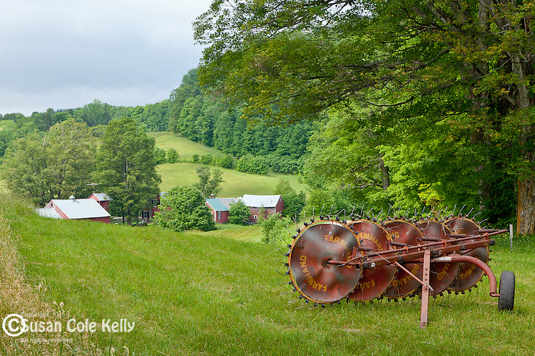 An antique wheel rake at the Jenne Farm in Reading, VT, USA
