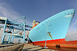 "The ""Elly Maersk"" is docked at the APM Terminal at the Port of Rotterdam, on Tuesday Oct. 27, 2009, in Rotterdam, the Netherlands. The ""Elly Maersk"" is one of eight PS-class container ships in the Maersk Line fleet,  and is one of the largest container vessels in the world. With an overall length of 397 meters and a width of 56 meters, it is capable of carrying 11,000 TEU (Twenty foot Equivalent Unit - a 20 foot long container). (Photo © Jock Fistick)"