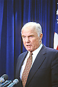 United States Senator John H. Glenn, Jr. (Democrat of Ohio) makes a statement in the U.S. Capitol following the announcement of the start of Operation Desert Storm on January 16, 1991..Credit: Howard L. Sachs / CNP