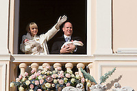 Princess Charlene, Prince Albert II Of Monaco & family during the official presentation of the twins