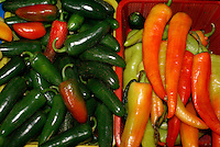 Chile peppers in the market,  in San Miguel de Allende, Mexico. San Miguel de Allende is a UNESCO World Heritage Site...