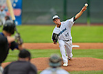 18 July 2013: Vermont Lake Monsters pitcher Brent Powers on the mound against the Aberdeen Ironbirds at Centennial Field in Burlington, Vermont. The Lake Monsters rallied with three runs in the bottom of the seventh to defeat the Ironbirds 6-4 in NY Penn League action. Mandatory Credit: Ed Wolfstein Photo