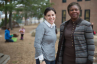 20131205 CESS Dean Fayneese Miller and UVM graduate Melanie Levitt at the Campus Children's Center