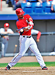 12 March 2012: Washington Nationals catcher Jesus Flores connects for a sacrifice RBI during a Spring Training game against the St. Louis Cardinals at Space Coast Stadium in Viera, Florida. The Nationals defeated the Cardinals 8-4 in Grapefruit League play. Mandatory Credit: Ed Wolfstein Photo