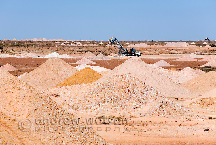 Piles of earth dug from the many mines shafts in the Coober Pedy opal fields.  Coober Pedy, South Australia, AUSTRALIA.