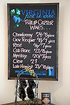 Philip Carter Winery's offerings are posted on a hand-lettered chalkboard in the tasting room.