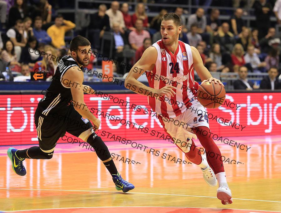 Kosarka ABA League season 2015-2016<br /> Crvena Zvezda v Partizan<br /> Stefan Jovic and Aleksandar Cvetkovic<br /> Beograd, 03.11.2015.<br /> foto: Srdjan Stevanovic/Starsportphoto&copy;