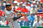 20 May 2012: Baltimore Orioles outfielder Adam Jones breaks his bat during play against the Washington Nationals at Nationals Park in Washington, DC. The Nationals defeated the Orioles 9-3 to salvage the third game of their 3-game series. Mandatory Credit: Ed Wolfstein Photo