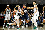 01 APRIL 2012:  Kaleena Mosqueda-Lewis (23) of the University of Connecticut pressures Brittany Mallory (22) of the University of Notre Dame during the Division I Women's Final Four Semifinals at the Pepsi Center in Denver, CO.  Notre Dame defeated UCONN 83-75 to advance to the national championship game.  Jamie Schwaberow/NCAA Photos