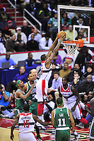 Trevor Booker of the Wizards goes up for a dunk. Boston defeated Washington 89-86 at the Verizon Center in Washington, D.C. on Saturday, November 3, 2012.  Alan P. Santos/DC Sports Box