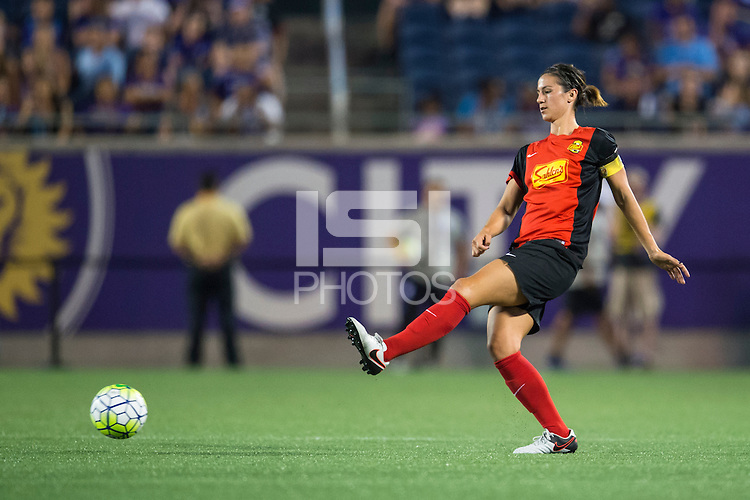 Orlando, Florida - Sunday, May 14, 2016: Western New York Flash defender Abby Erceg (6) during a National Women's Soccer League match between Orlando Pride and New York Flash at Camping World Stadium.