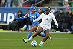 08 December 2013: Florida State's Jamia Fields (4) and UCLA's Caprice Dydasco (3). The Florida State University Seminoles played the University of California Los Angeles Bruins at WakeMed Stadium in Cary, North Carolina in a 2013 NCAA Division I Women's College Cup championship game.