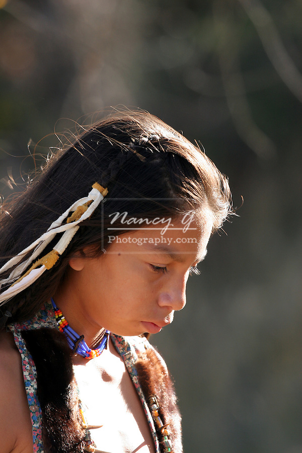 A sad looking Native American Indian child
