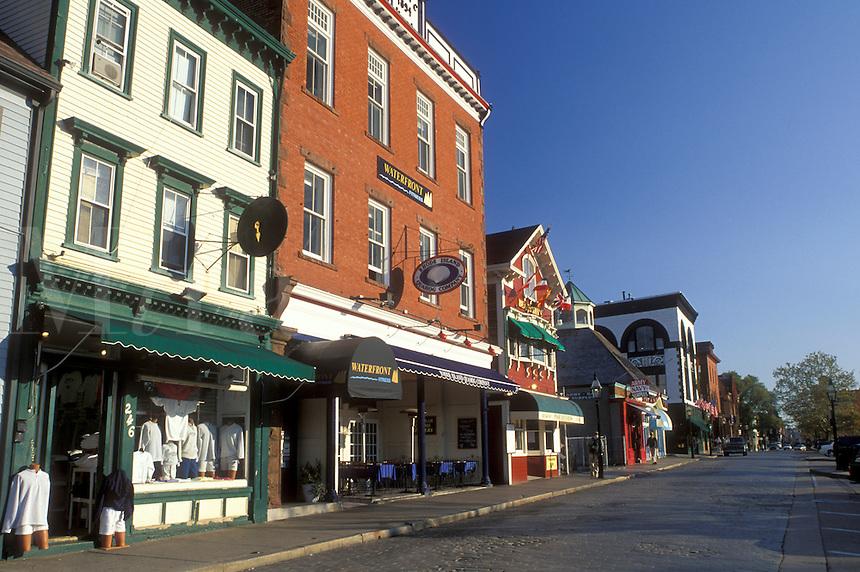 Newport, Rhode Island, RI, Shops along Thames Street in downtown Newport in the autumn.
