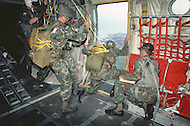 Special Force, April 1982. Paratroopers jumping from a C 130 Airplane over the U.S. training ground, in Panama.