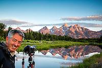 Photographer, Shwabacker Landing, sunrise, Jackson Hole, Wyoming