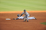 Ole Miss' Will Jamison (4) is safe at second vs. UT-Martin second baseman Wes Piersall at Oxford-University Stadium in Oxford, Miss. on Wednesday, February 20, 2013. Ole Miss won 15-2 to improve to 4-0.