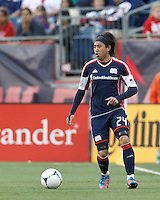 New England Revolution midfielder Lee Nguyen (24) looks to pass. In a Major League Soccer (MLS) match, the New England Revolution tied the Columbus Crew, 0-0, at Gillette Stadium on June 16, 2012.