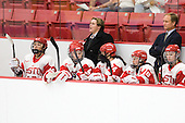 ?, Kathryn Miller (BU - 4), Katie Lachapelle (BU - Assistant Coach), Taylor Holze (BU - 24), Jillian Kirchner (BU - 18), Brian Durocher (BU - Head Coach) - The Boston University Terriers defeated the visiting University of Windsor Lancers 4-1 in a Saturday afternoon, September 25, 2010, exhibition game at Walter Brown Arena in Boston, MA.