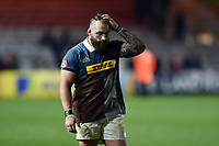 Joe Marler of Harlequins leaves the field dejected after the match. Aviva Premiership match, between Harlequins and Exeter Chiefs on April 14, 2017 at the Twickenham Stoop in London, England. Photo by: Patrick Khachfe / JMP