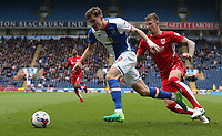 Blackburn Rovers' Sam Gallagher holds off the challenge from Bristol City's Aden Flint <br /> <br /> Photographer Stephen White/CameraSport<br /> <br /> The EFL Sky Bet Championship - Blackburn Rovers v Bristol City - Monday 17th April 2017 - Ewood Park - Blackburn<br /> <br /> World Copyright &copy; 2017 CameraSport. All rights reserved. 43 Linden Ave. Countesthorpe. Leicester. England. LE8 5PG - Tel: +44 (0) 116 277 4147 - admin@camerasport.com - www.camerasport.com