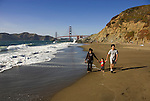 San Francisco: Baker Beach with Golden Gate Bridge in background.  Photo # 2-casanf83436.  Photo copyright Lee Foster