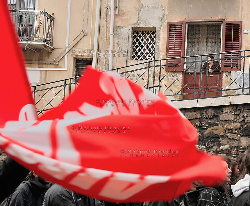 Sicily, strike of workers in Termini Imerese, the seat of one of Fiat factory which is about to close.Termini Imerese sciopero indetto dalla Fiom.