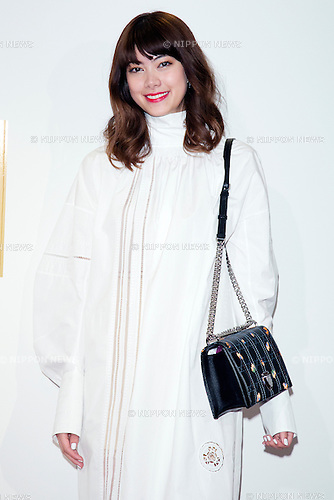 """""""Dior and I"""" Movie Special Talk Show on March 12, 2015, Tokyo, Japan. Fashion model Hikari Mori wearing fashion brand Dior Spring-Summer 2015 Collection poses for the cameras during the special talk of the movie """"Dior & I"""" at Bunkamura theater in Shibuya. The movie hits the theaters across Japan on March 14. (Photo by Rodrigo Reyes Marin/AFLO)"""