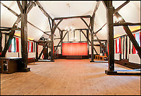 BNPS.co.uk (01202 558833)<br /> Pic: CarterJonas/BNPS<br /> <br /> ***Please Use Full Byline***<br /> <br /> The stage in the theatre at the Little Easton Manor.<br /> <br /> One of Britain's most historic country houses which boasts a theatre that has played host to Charlie Chaplin and H.G. Wells has gone on the market with a &pound;5 million price tag.<br /> <br /> In the early 1900s the sprawling estate's tithe barn was transformed into a theatre in which the great and the good of the acting world flocked to perform.<br /> <br /> Edwardian actress Ellen Terry gave poetry readings there while War of the Worlds author H.G. Wells, who lived with his family in a house on the estate, also frequented the theatre.<br /> <br /> Other regular performers included Charlie Chaplin, Gracie Fields and George Formby.<br /> <br /> In more recent years it has welcomed famous faces such as Rowan Atkinson, Bill Cotton, Tim Rice, Esther Rantzen and even the cast of Eastenders.<br /> <br /> The 17th century Grade II listed manor is on the market with Carter Jonas estate agents for &pound;5 million.